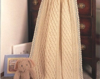 SALE******Afghan Blanket Throw aran style crochet pattern newborn Christening Baptism present