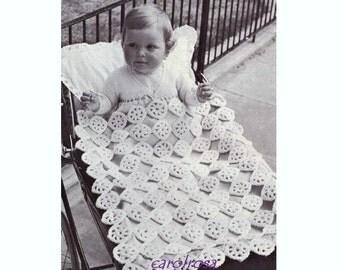 Vintage CROCHET PATTERN - Baby Blanket/Afghan/Pram Cover - Heirloom Christening Baptism