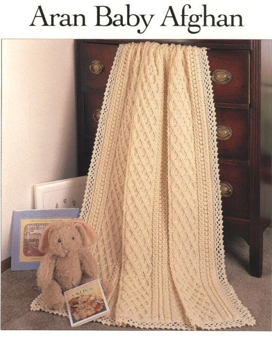 Crochet Aran Baby Blanket Pattern : SALEAfghan Blanket Throw aran style crochet pattern