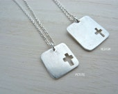 Tiny cross necklace in matte silver - Understated cross pendant hand cut square geometric necklace - Unisex christian jewelry