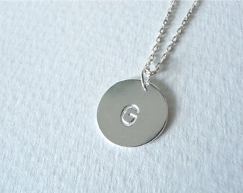 Initial G necklace hand stamped silver disc necklace - Personalized jewelry initial H silver necklace - Birthday gift idea family necklaces