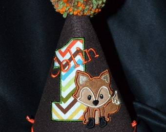Fox Boy 1st Birthday Birthday Party Hat With Hand made pom pom top or have me custom make a hat to match your party theme