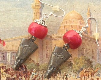 Egyptian Nefertiti Earrings, Red Coral Beads & Silver Pewter Bead Caps, by SandraDesigns