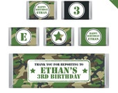 Camo or Army Party - Personalized DIY printable chocolate bar labels