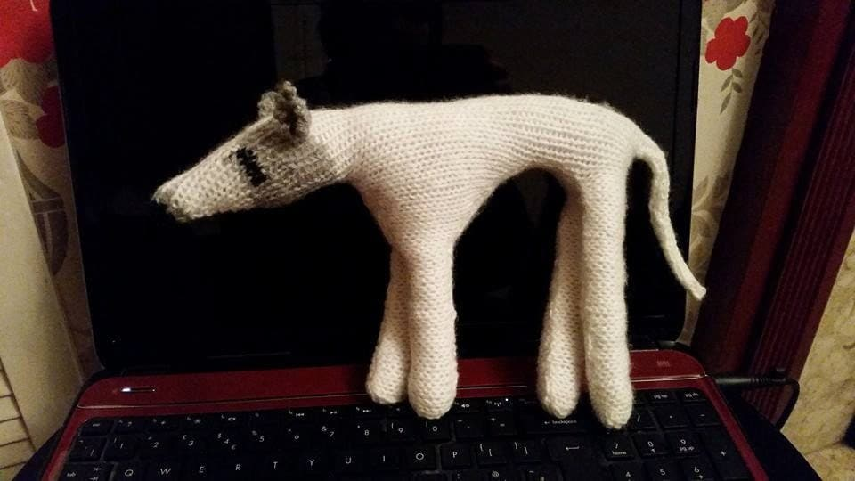 Knitting Pattern to make Small Danny the Greyhound model / toy