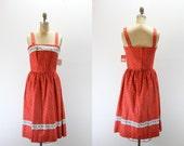 RESERVED Vintage Dress - NOS Serbin Label - Red Floral - Summer Frock