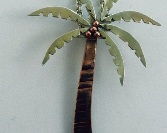 Copper and Sterling Silver Palm Tree Necklace