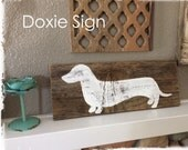 Reclaimed Wood Sign - Dachshund, Wall Art, Vintage Sign, Rustic