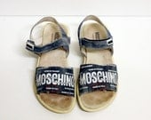 Leather Moschino Logo Denim Printed Velcro Sandals Size 36 / 5 / 6
