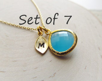 Bridesmaid Gift Necklace, Set of 7, You Choose Color, Personalized Bridesmaid Necklace Set, Gold Bridesmaid Jewelry, Custom Color Bridal