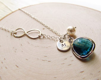 Infinity Necklace Birthstone and Initial, Personalized Jewelry, Sterling Silver Infinity Necklace, Birthstone Necklace, Bridesmaid Gift