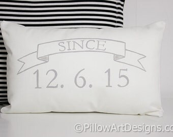 Wedding Date Pillow with Wedding Date Numbers White Cotton Grey and White Hand Painted 8 X 12 Made in Canada