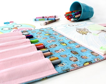 Tiny Owls Crayon Artist Case, Ready to ship, Coloring wallet, Crayon wallet, Art tote, Art wallet, Travel toy, Crayons and paper included