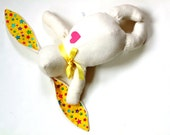 White bunny, stuffed bunny rabbit doll, Easter bunny toy, yellow ears, ivory white, plush bunny, soft bunny, gift under 30
