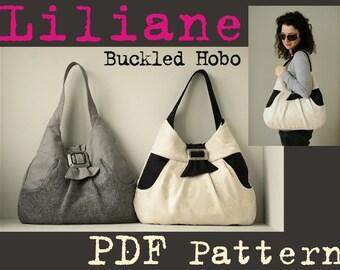 PDF Sewing Pattern to make Liliane Buckled Hobo Bag INSTANT DOWNLOAD large retro purse shoulder fabric knit pocket women slouch urban bag