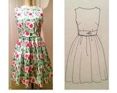 Women's vintage wrap dress PDF sewing pattern