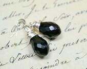 Jet Black Crystal Teardrop Earrings / Sparkly Faceted Drops / Simple Wire Wrap Jewelry, Modern Black Dangle Earrings