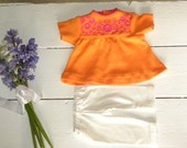 Orange Embroidered Dress and Leggings - 14 - 15 inch doll clothes