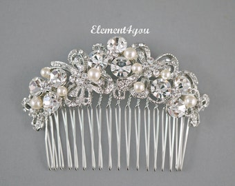 Bridal rhinestone Comb, Crystal Comb, Bridal Combl, Wedding Hair Comb, Swarovski pearls, Ivory White Wedding Accessory, Bridal Headpiece,