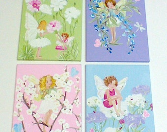 Four fairy painting,fairies,flowers,butterflies,pastel colors,fairy wall art,fairy paintings,fairies,ready to ship,girls art,fairy paintings