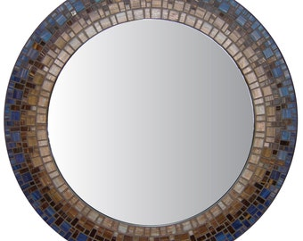 Mosaic Wall Mirror - Blue & Brown
