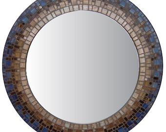 Mosaic Wall Mirror - Blue & Brown