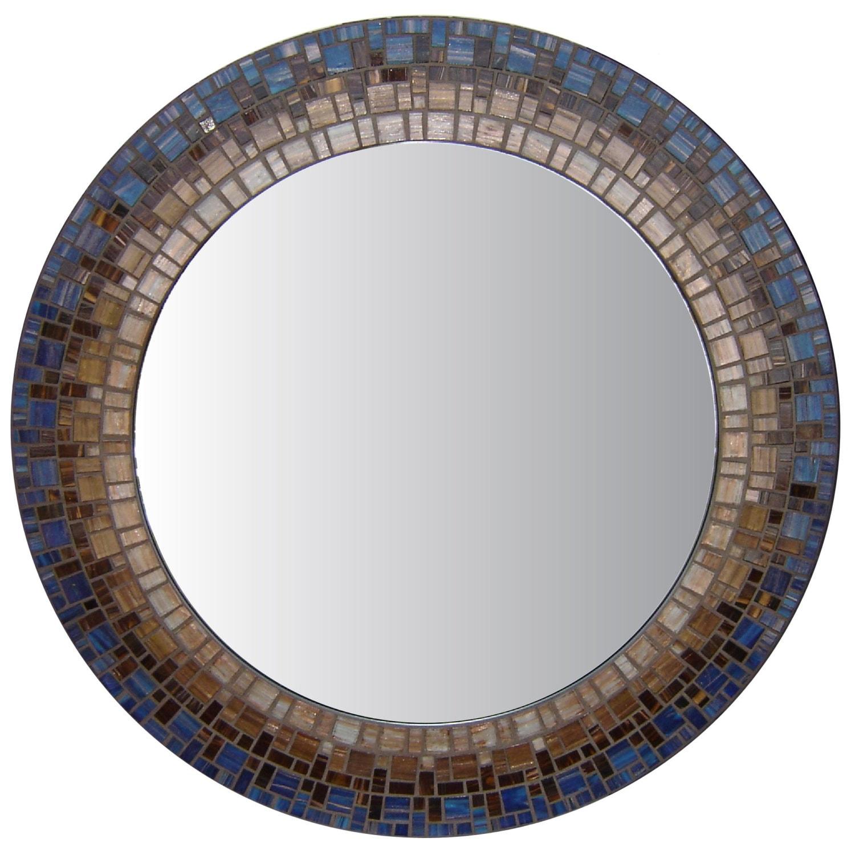 Mosaic wall mirror blue brown for Mosaic mirror