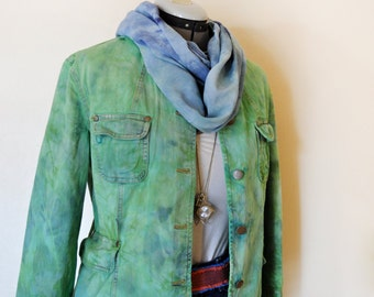 Green Medium Denim JACKET - Kelly Green Hand Dyed Upcycled Mossimo Denim Blazer Jacket - Adult Womens Size Medium (44 chest)