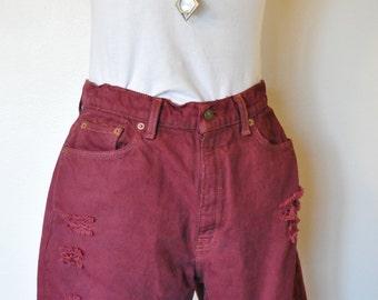 "Dark Red Sz 12 Levi's 512 Denim SHORTS - Oxblood Red Dyed Denim Vintage Levi's Cut Off Shorts - Adult Womens Size 12 Reg (30"" Waist)"
