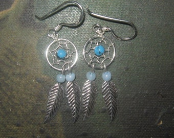 Pair Of 925 Sterling Silver SOUTHWEST Dream Catcher Earrings