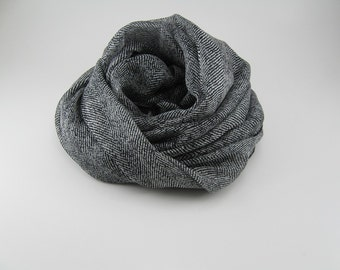 Silk Chiffon Scarf --- Black and White / Herringbone Print