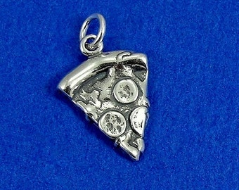 Pepperoni Pizza Slice Charm - Sterling Silver Slice of Pizza Charm for Necklace or Bracelet