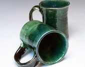 Pair of Mugs in Green and Blue