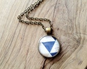 Antique Brass Triangle Patterned Blue and Cream Pendant Necklace