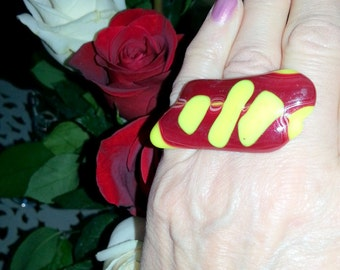 "Oversize fused glass adjustable bold large ring 2"" x 1"" red yellow one of a kind ring"