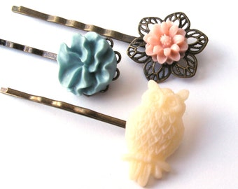 Owl Bobby Pin Set in Cream, Blue and Pink, Flower Bobby Pins, Cream Owl, White Owl