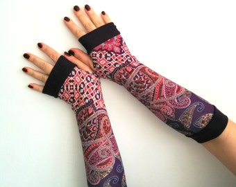 Fingerless long pink with purple cuffs gloves   stretch  cotton