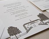 Barn Wedding Invitation, Letterpress printed SAMPLE