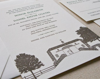 Barn Wedding Invitation, Letterpress printed SAMPLE