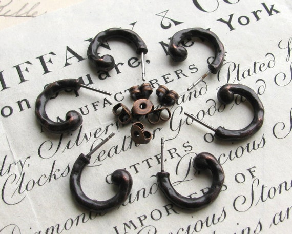 Rustic boho earring post with ear nuts, 15mm semi circle, antiqued black pewter, weathered ear wire (6 ear ring posts) earnuts earwire