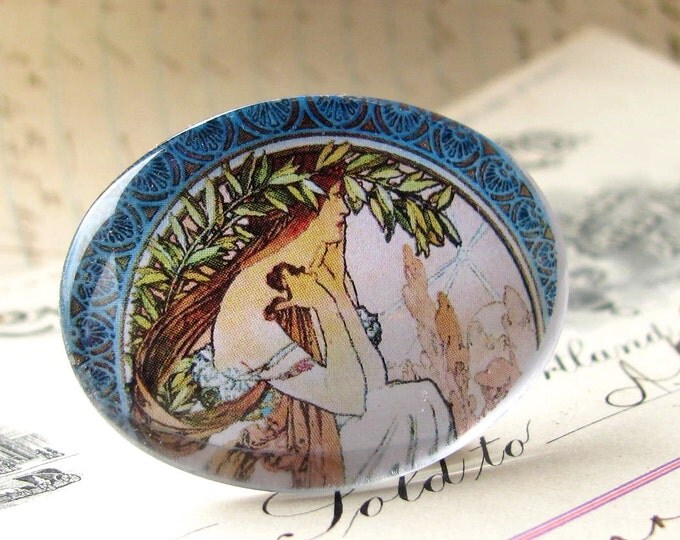 Art Nouveau handmade glass cabochon, green leaf, blue border, pastel pink, Mucha woman, 40x30 30x40 40x30mm 30x40mm oval, horizontal