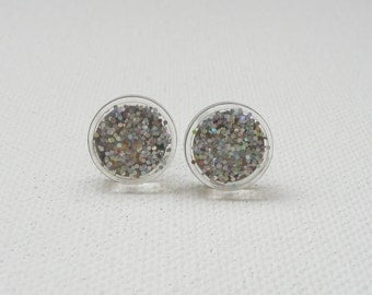 hs-Small Sparkly Silver Round Stud Earrings