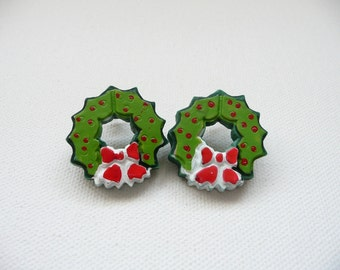 hs-Holiday Wreath with Red Berries Stud Earrings