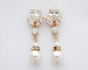 Rose Gold Wedding Earrings Pearl Crystal Bridal Earrings Bridesmaid Earrings Swarovski Pearls Crystal Bridal Earrings Wedding jewelry, Isla