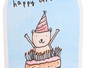 Original Illustrated Happy Birthday Cake Candle Card, Handmade in England, 100% Recycled
