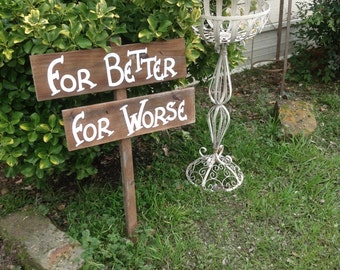 Traditional Stained Aged Wood Wedding Vows Mini Sign on Stake Rustic Western Country For Better For Worse Ready to Ship