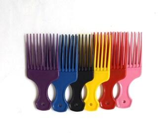 vintage 1970's NOS unbreakable pick plastic nylon purple pink blue black red hair accessories accessory pic mid century retro men womens usa