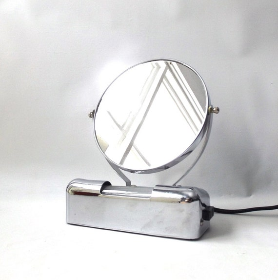 Lighted Vanity Mirror With Outlet : vintage 1950 s lighted makeup mirror vanity chrome