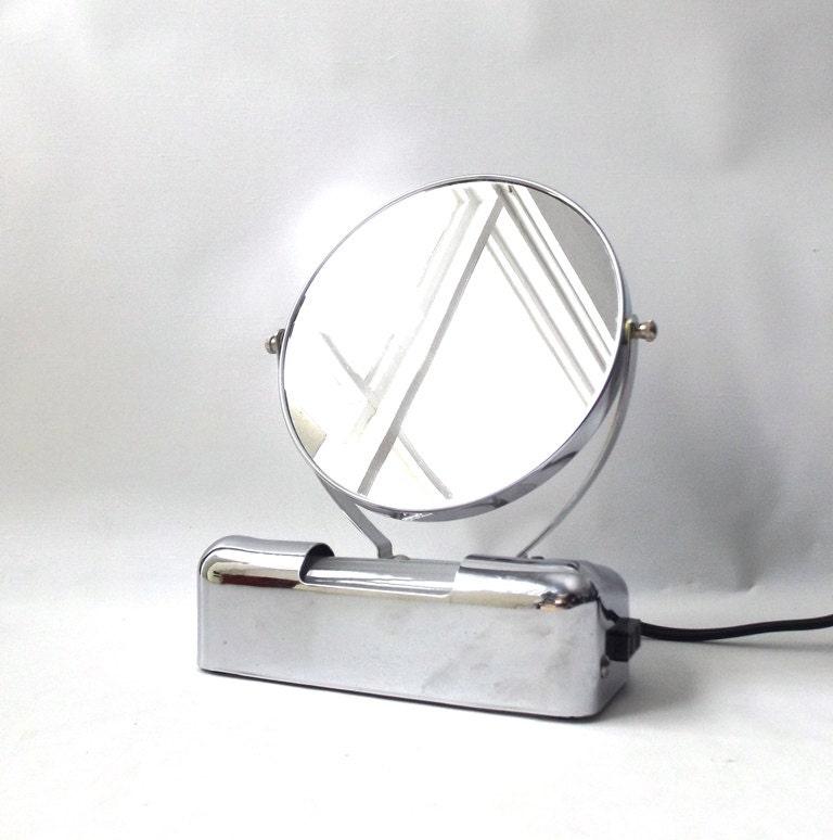 vintage 1950 39 s lighted makeup mirror vanity chrome. Black Bedroom Furniture Sets. Home Design Ideas