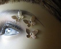 Gold Butterfly Eye Decals Eye Bindi Sprite Fairy Costume Jewelry Nonpiercing Eyebrow Accessory Crystal Butterfly 3D Tattoo Butterfly Tattoo